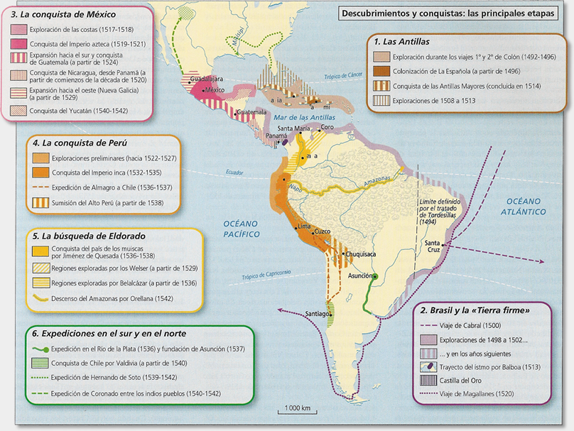 Resultado de imagen de Mapa de los conquistadores de america